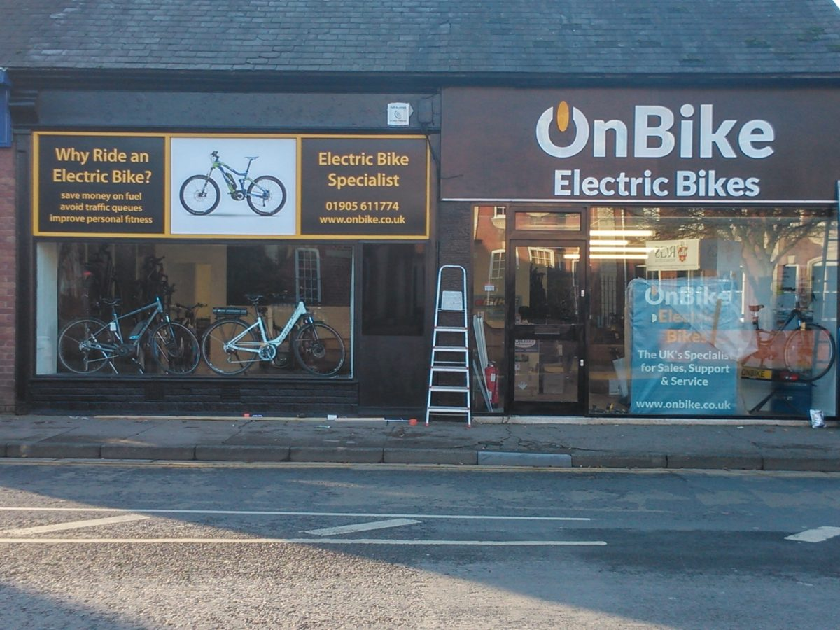 New electric bike shop electric bikes onbike ltd for Motorized bicycle shops near me