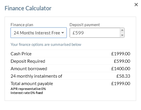 finance calculator window
