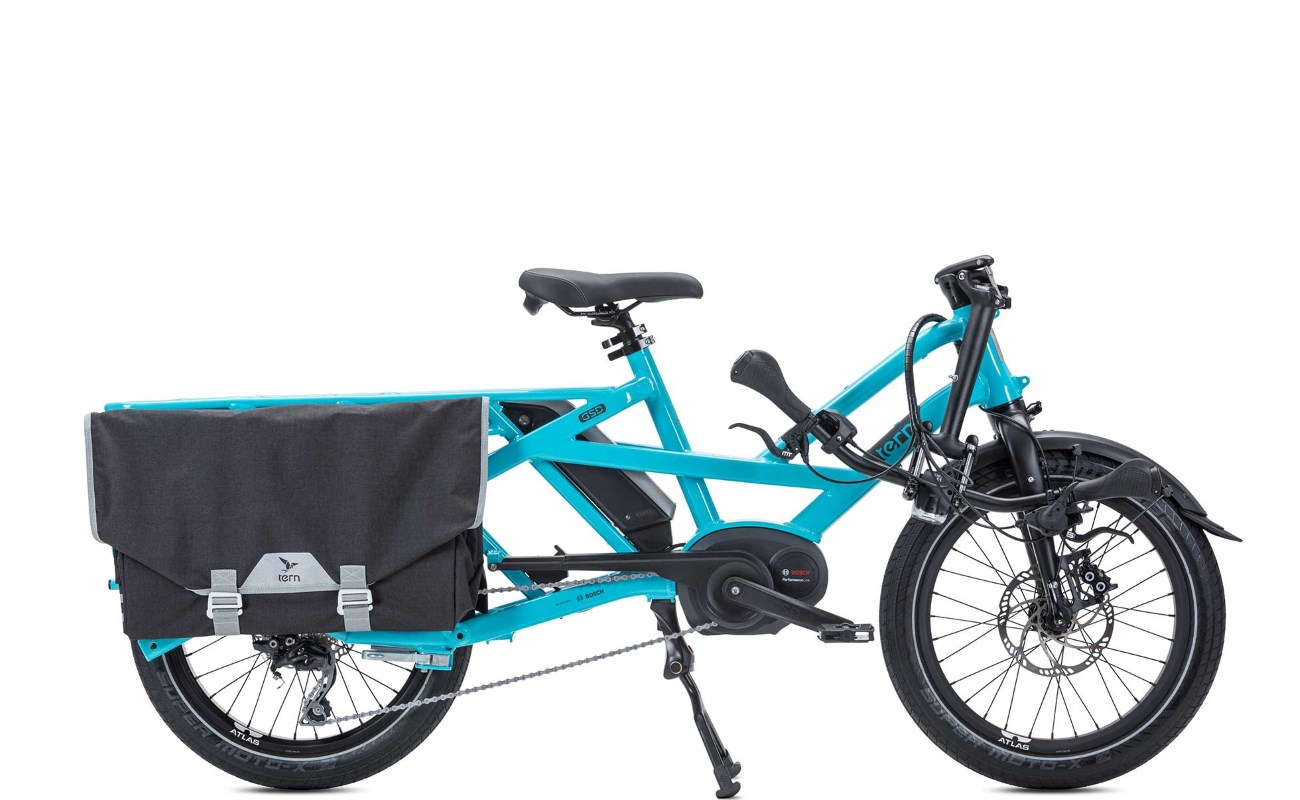 tern gsd bosch powered cargo ebike with folding handlebar stem. Black Bedroom Furniture Sets. Home Design Ideas